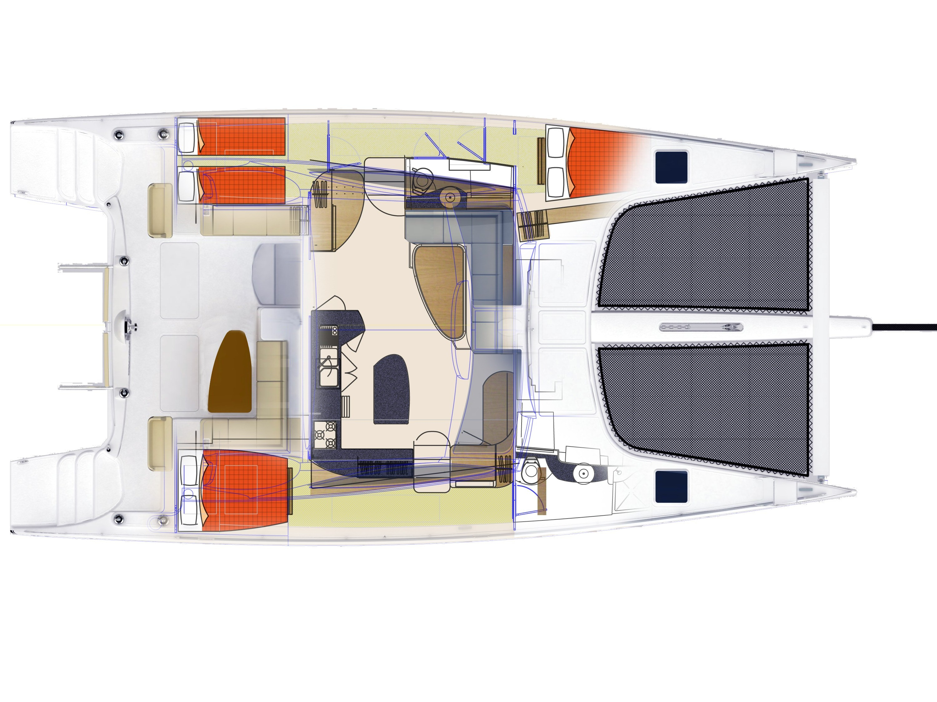 Seawind catamarans 1600 Performance - GA3-Berth.jpg